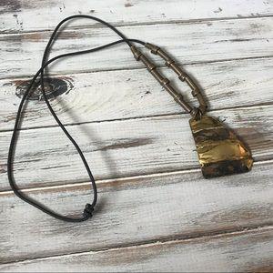 Jewelry - Brutalist artisan geometric brass pendant necklace